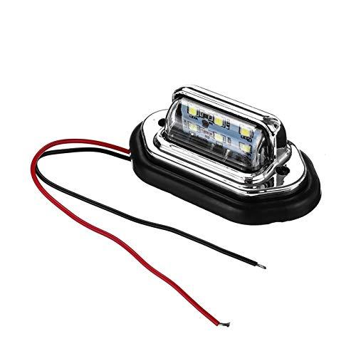 GZA 2pcs 12V 24V Waterproof 6 LED Car License Plate Light Signal Tail Light Lamp Boat Truck Trailer SUV VAN Caravan Waterproof