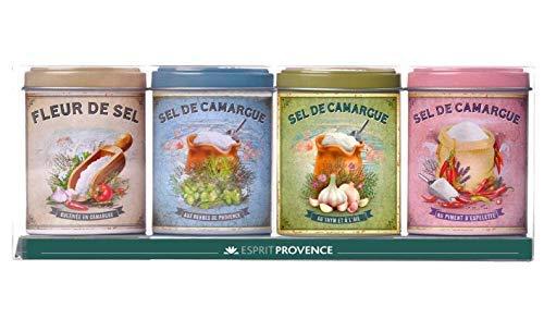 Esprit Provence Cofanetto Assortito 4 Fior di Sale della Camargue: Puro, al Peperoncino, alle Erbe di Provenza, al Timo - 1 x165 Grammi