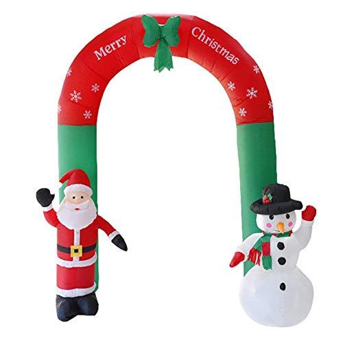 Quyi 2,4 m jul uppblåsbar valvbåge tomte snögubbe för gårdsdekoration jul uppblåsbar utomhus (europeiska föreskrifter)