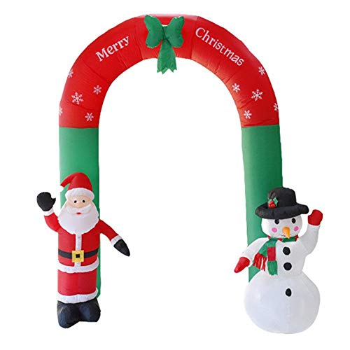 PetKids Inflatable Father Christmas and Snowman Arch Inflatable with Father Christmas Arch with LED Lights Lighted Garden Play Area Party Decor Yard Indoor Outdoor 2.4 m High