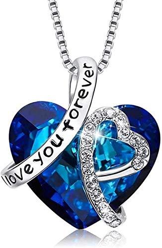 LBBYMX Co.,ltd Collar Gargantilla Collar Cadena clavicular Collar de Mujer Colgante Decorado con corazón de Cristal Collar de Regalo de San Valentín Collar de Amor para Siempre