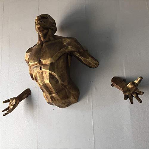 JJDSN Esculturas de decoracin de Pared de Hombre Masculino con Acabado de Bronce, estatuas de Arte Corporal 3D para Bar Coffee Club, Moderno y Creativo Colgante de Pared de Torso Humano Dorado gr