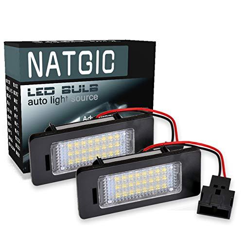 NATGIC éclairage de Plaque d'immatriculation à LED 3528 puces 24SMD étanche CanBus sans Erreur Numéro de LED Ensemble de Lampe de Plaque d'immatriculation 12V 2W - 6000K Blanc (Lot de 2)