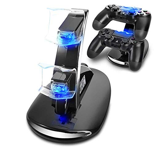 KONKY PS4 Controller Ladestation Charger, Dualshock Docking Ladegerät Stand Mit USB Kabel und LED Für Sony Playstation 4 / PS4 Slim / PS4 Pro Game Controller, Schwarz