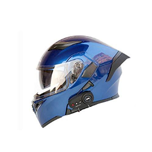 SYXW Casco Bluetooth para Moto Electrica Casco De Moto Inteligente Casco De Moto con Resistencia FM Y Cola Larga,Style 3,XXL