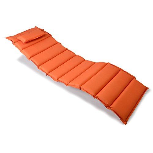 Nexos Divero Liegenauflage – Auflage gesteppt Polster für Sonnenliege Gartenliege Holzliege Saunaliege mit Kopfkissen – bequem hochwertig robust – orange