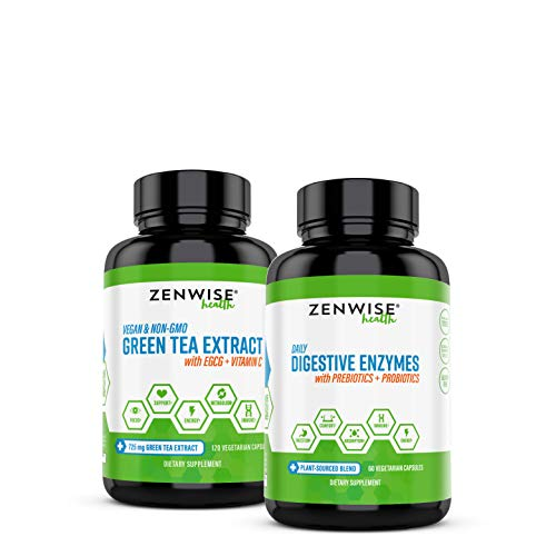 Zenwise Good for the Gut, Great for the Soul Bundle– Digestive Enzymes + Green Tea Extract – Features DE111 Probiotic for Clinically Studied Immune Support – Plus Vegan Green Tea with EGCG & Vitamin C
