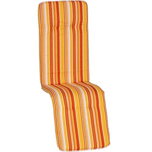 Beo Relaxsessel Auflage Waschbar Bali   Made in EU nach Öko-Tex Standard   Atmungsaktive Relaxstuhl Auflage mit Gummi-Halteband   UV-beständige Liegestuhl Auflage mit Streifen in Gelb-Orange