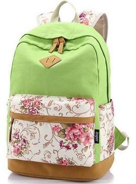 icase4u® 2015 Multi-Función Moda Mochila Bolsa Escolar Tipo Casual Bonita de Lona de Viaje Mochila de Marcha para Picnic para Mujer o Chica (Flores-Verde)