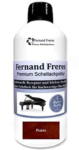 Schellackpolitur 500ml. Fernand Freres RUBIN Mahagoni Klavierlack Hochglanz French Politur Schellack gebrauchsfertig Schelllack