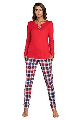 Italian Fashion IF Pijama Camiseta y Pantalones Mujer IFS18015 (Rosado/Azul Oscuro, XL)