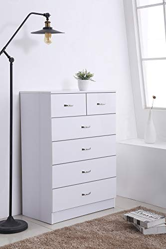 Harmin High Gloss 6 Drawer Sideboard/Cupboard/Buffet/Chest (White on White)