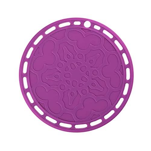 Yiiuii Conjunto de esteras de trivels de Silicona Redondo Conjunto de 2 Placas de Mesa Potizador de Olla Pista Caliente Uso Multiusos y Muchos Colores,Púrpura