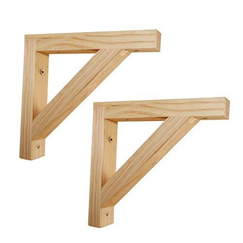 Shelf Brackets 2pcs Regalhalterung Holz 200mm Regalkonsole Vintage Regal Unterstützung Wandregal Winkel Regalträger Log Schwerlastwinkel Mit Schrauben (unbemalt)