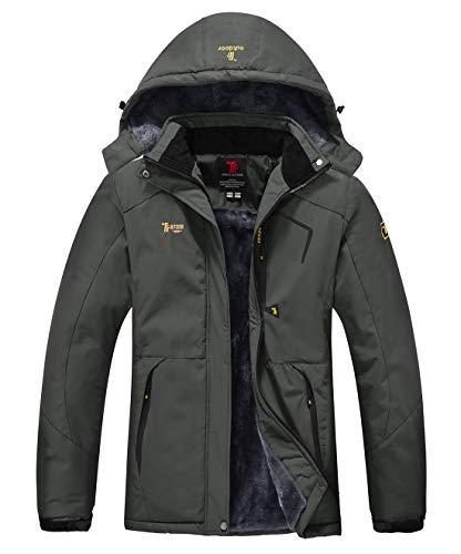 YSENTO Giacca da sci impermeabile in pile invernale con cappuccio per donna (M, Grigio)