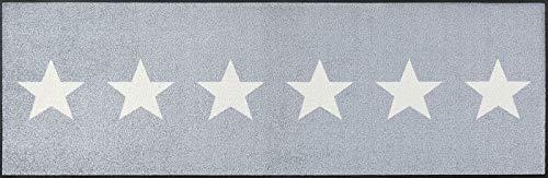 wash+dry Fußmatte Stars Grey, 60x180 cm, Innen, waschbar, Grau
