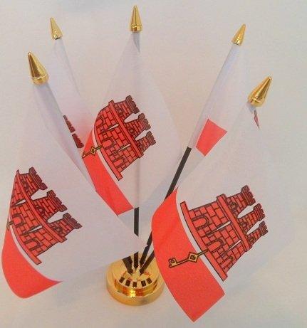 City 5 Drapeau de Gibraltar affichage bureau avec Base dorée