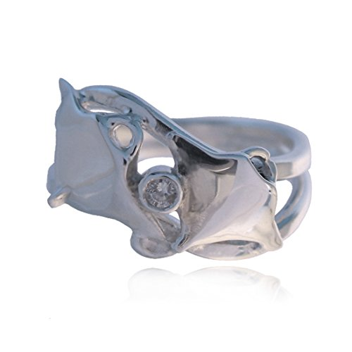 Aquamarine Jewellery Sterling Silver Manta Ray Ring with Diamond Gift Boxed (S)