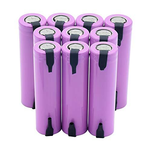Batería de iones de litio de 3,7 V 2600 mAh ICR 18650 26F, batería de repuesto con 2 lengüetas para radio para proyector 10 unidades