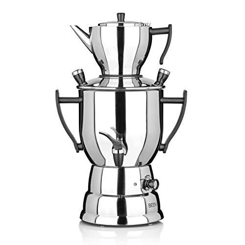 BEEM SAMOWAR 2017-3 l | Teekocher elektrisch | Edelstahl | 1.500 W | 3 l Wasserbehälter | 1,2 l Teekanne mit Sieb| Privat, Hotel & Gastro geeignet