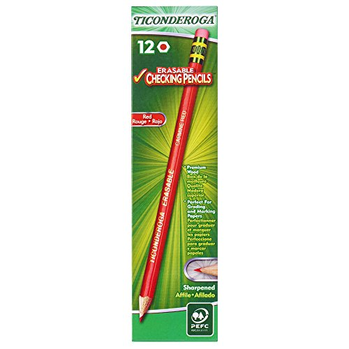 Ticonderoga Erasable Checking Pencils with Eraser, Pre-sharpened, Red, 12-Pack (14259)