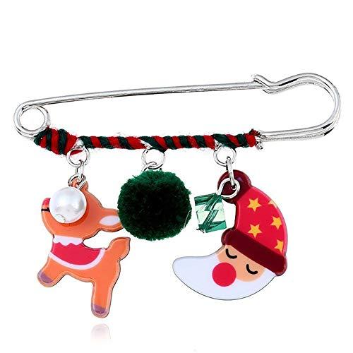 Ouken 1pc Christmas Brooch Pins Moon Fawn Muster Weihnachten kreative Brosche Pin Shawl Clip KostümSchmuck für Kinder Kinder Frauen Damen Xmas Ornament Geschenke