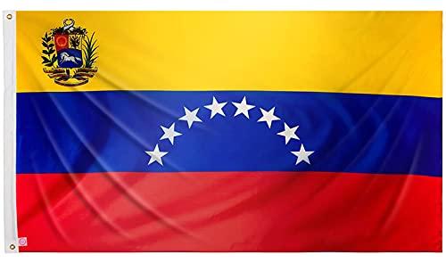 Bandera venezolana grande 150x90 cm bandera Venezuela de balcón para exterior reforzada con dos ojales metálicos