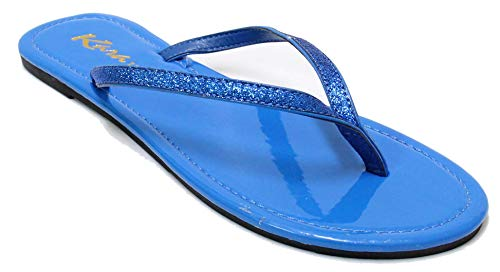 Women's Glitter Classic Casual Flat Thong Flip Flops Sandals Shoes LS012 (9, Blue)