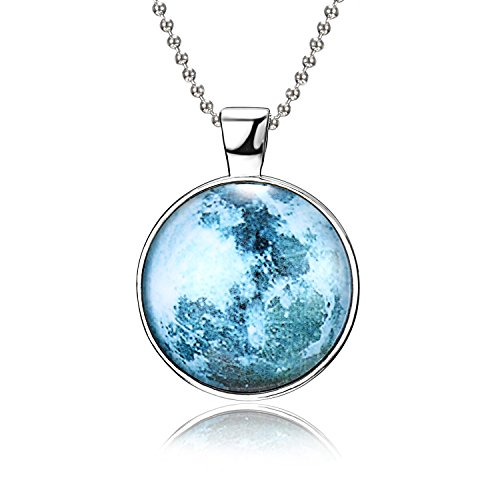 RINHOO Magical Fairy Glow in The Dark Moon Bead Chain Pendant Necklace White Gold Plated (Style 8)