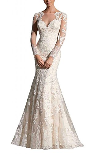 H.S.D Women's Mermaid Long Sleeves Lace Appliques Wedding Dress Bridal Gown