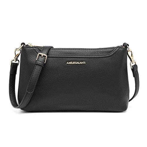 Crossbody Bags for Women, Lightweight Purses and Handbags PU Leather Small Shoulder Bag Satchel with Adjustable Strap (Black)