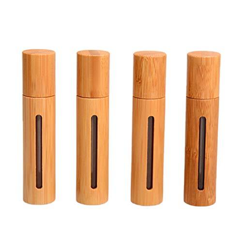 WZCXYX 4 Piezas De Bambú Natural Recargable Vacío Aceite Esencial Perfume Botellas De Bola De Rodillo De Acero para Salones De Viaje Familiares(Color:10ML)