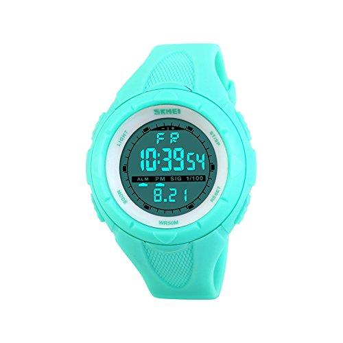Reloj de pulsera iWatch para mujer o niña, resistente al agua 50 m, con correa de silicona, digital, LED, con alarma, fecha, reloj deportivo, cronómetro, color azul
