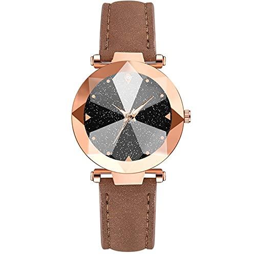 Ygerbkct Nuevo Reloj de PU para Mujer, Reloj de Estrella roja, cinturón de Negocios Informal, Reloj de Cuarzo, Reloj de Cuarzo para Mujer
