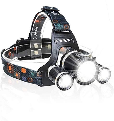 XXCC Multifunktionale Kopflampe, LED 6000 Lumen 4 Modi 3XM-L T6 LED-Scheinwerfer, Wiederaufladbare, Leichtes Wasserdichtes Hauptlicht, Wandern Radfahren Angeln Jagd Klettern