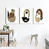 SHKJ Arte de Pared escandinavo en Tono Tierra, Forma Abstracta, diseño Decorativo, póster, Estilo nórdico, impresión de galería, 60x90cm / 23.6'x35.4 X3 Sin Marco