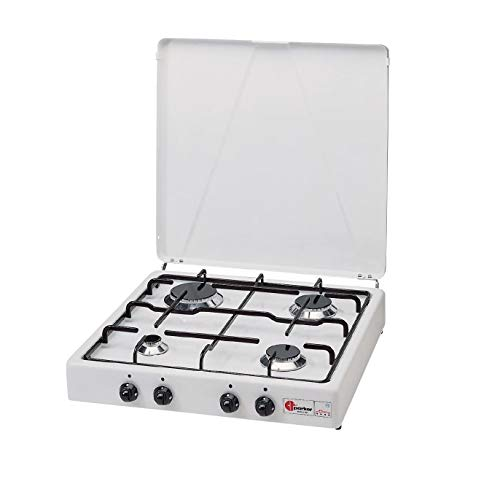 Réchaud à valve Parker à méthane, 4 feux, blanc, noir, pour usage intérieur.