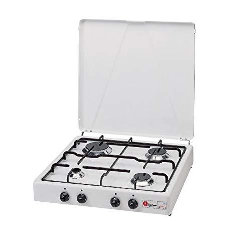 Réchaud à valve Parker à gaz méthane (gaz de cita) avec 4 feux de couleur blanc et noir – pour usage intérieur.