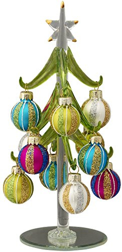 LSArts Glass Christmas Tree with 12 Ornaments, Green, Swirl, 8 Inch, Gift Box