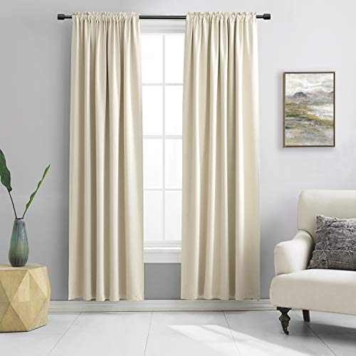 DONREN 2 Panels 84 inch Length Cream Beige Blackout Curtain Panels for Bedroom - Rod Pocket Room Darkening Thermal Insulated Curtains for Living Room (42 x 84 Inches Long)