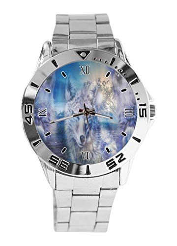 Wolf Team Spirit Design Analog Armbanduhr Quarz Silber Zifferblatt Klassisch Edelstahl Band Damen Herren Armbanduhr