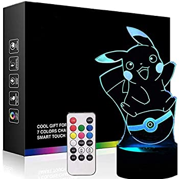 3D Lamps Nightlight for Pikachua Lovers, Remote Control 7 Colors Touch Switch Table Desk Lamps Holiday Xmas Toys Gifts