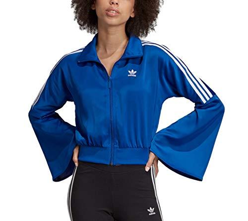 adidas Originals Bellista - Sudadera de satén con mangas acampanadas para mujer - azul - S