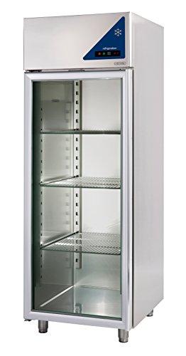 Gastlando - Frigorifero professionale in acciaio inox, 700 litri, porta in vetro da -2° a +10° C