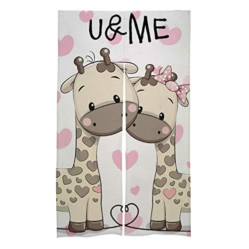 Mesllings - Tenda per Porta e Finestra con Due graziose Giraffe U&Me, per Camera da Letto, Soggiorno, Camera da Letto, Decorazione, Drappeggio, Accessori per la casa, 86,4 x 142,2 cm