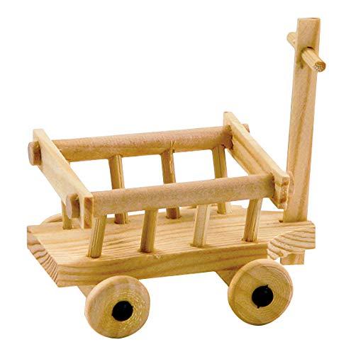 Miniatur Bollerwagen aus Holz 8x6cm natur Leiterwagen Handwagen Puppen Modelbau Dekoration