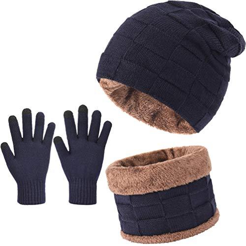 VBIGER Herren Damen Mütze Schal und Touchscreen Handschuhe Set Wintermütze Strickmütze Schlauchschal Winterhandschuhe, Navy Blau