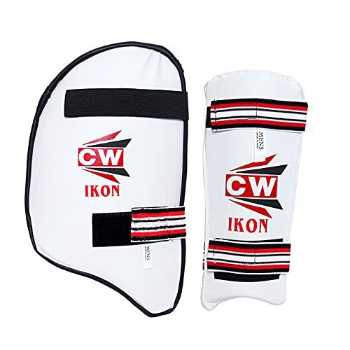 CW IKON - Juego de accesorios de críquet para mano derecha con protector de brazo y protección de muslos y codo para críquet