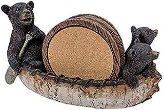 Black Bear Canoe Coaster Set with Holder - Pine Ridge 3 Rustic Black Bear Cabin Decor Absorbent Coaster Drink - Set of 5 Drink Coaster Set