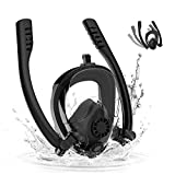 EAZY2HD Snorkel Mask Full Face, 180 Panoramic View Dual Breaths Snorkel Mask Set with Detachable Camera Mount, Dry Top Set Anti-Fog Anti-Leak for Adults/Kids
